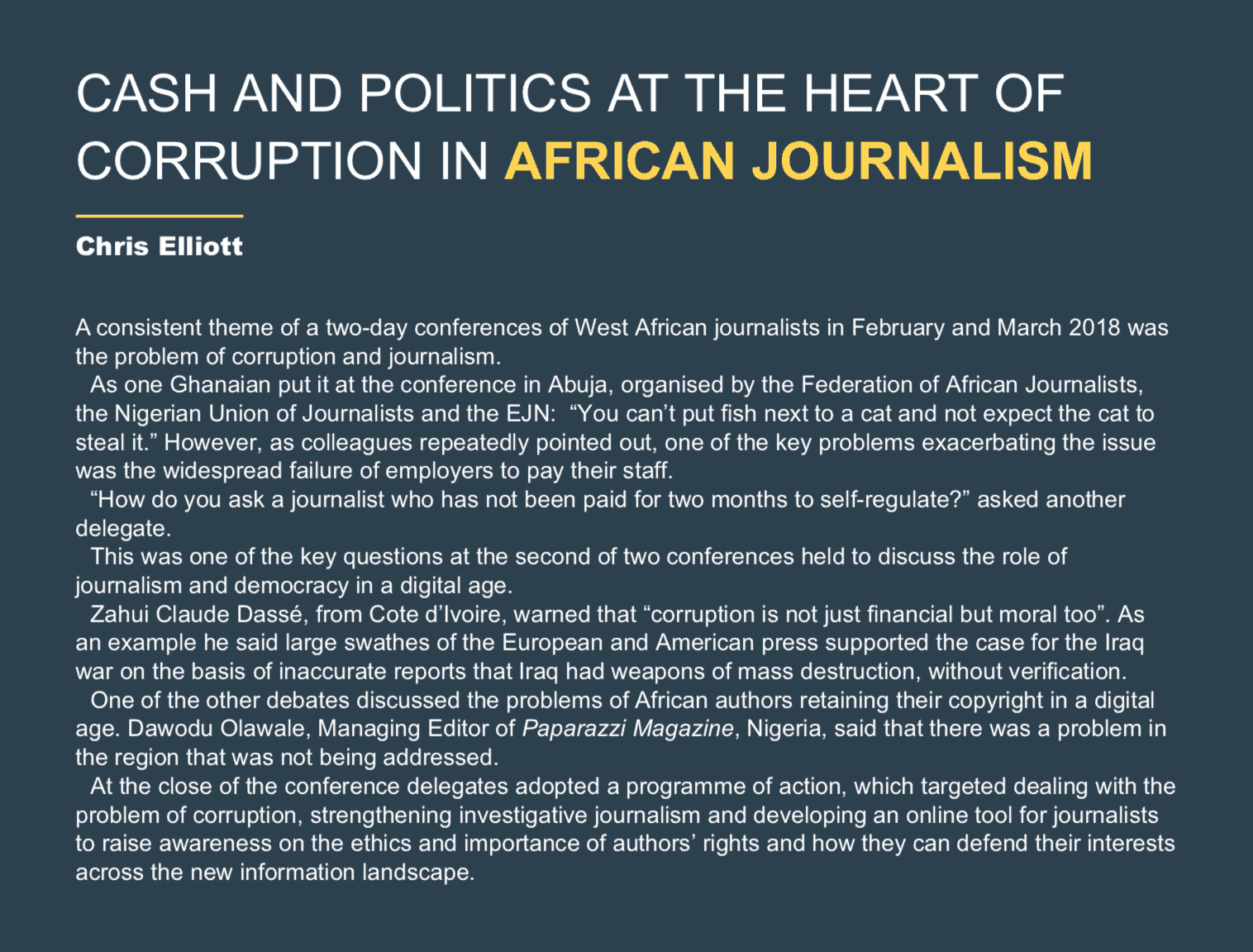 CASH AND POLITICS AT THE HEART OF CORRUPTION IN AFRICAN JOURNALISM